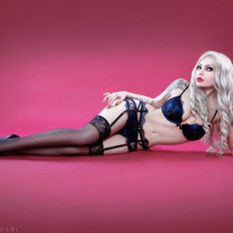 ELENA VLADI IN LATEX - RUSSIAN MODEL - WHITE HAIR - RED QUEEN BAND